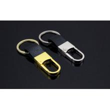 Chaîne de porte-clés de porte-clés en cuir en métal d'OEM pour le cadeau promotionnel
