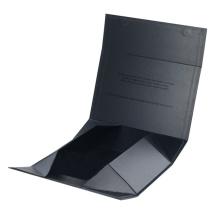 2019 Luxury Black Hardcover Rigid Paper Packaging , Custom Logo Printed Foldable Cardboard Flat Pack Gift Box with UV logo