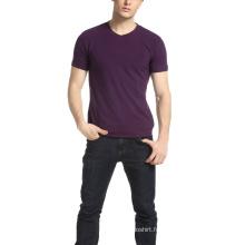T-shirt uni à col en V pour hommes