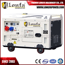 Generador diesel silencioso trifásico refrigerado por aire de 10kVA monocilíndrico