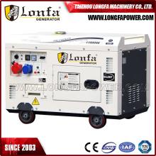 Gerador diesel silencioso de refrigeração trifásico do cilindro do ar 10kVA único