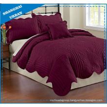 Violet Solid Printed Polyester Quilted Bedspread Set