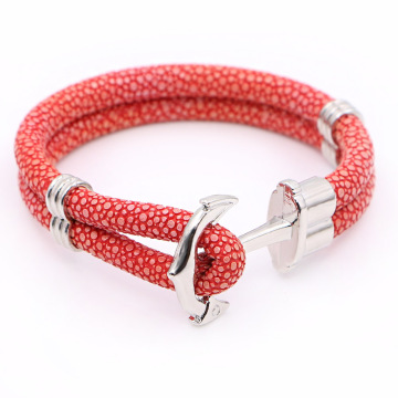 Ladies Design PU Leather Anchor Gelang Untuk Wanita