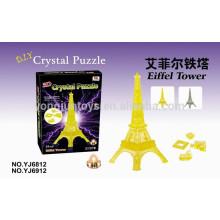DIY 3D rompecabezas de cristal juego Torre Eiffel con luz 24PCS rompecabezas juego