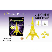 DIY 3D crystal puzzle game Eiffel Tower with light 24PCS puzzles game