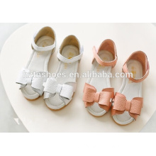 Soft girls stylish shoes flat sandals velcro strap with bowtie