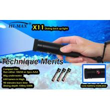 Hi-max X11 appuie sur le bouton avec un faible indicateur d'alimentation petit éclairage de secours 650lm