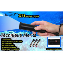 Hi-max X11 press button switch with low power indicator small Diving backup light 650lm
