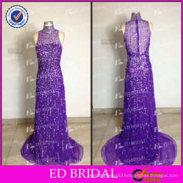 ED Bridal Sparkle Sheath High Collar See Through Back Heavy Beaded Long Evening Dresses