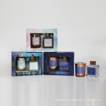 70ml glass reed diffuser and 90g scented wax in cup in gift box for home