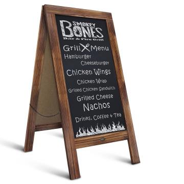 "Rustic Magnetic A-Frame Chalkboard Sign 40"" x 20"" Free Standing Chalkboard Easel Sturdy Sidewalk Sign Sandwich Board"