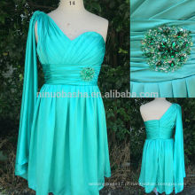 Verde Alibaba Short Prom Dresses 2014 Imagem real Beautiful One-Shoulder Pleated Satin Ribbon Beaded A-Line Vestidos formais NB0544