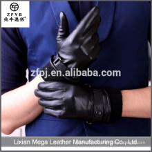 Piel de conejo de encargo barata de la alta calidad alineada guantes de cuero de los hombres