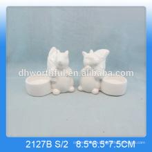 Único ardilla en forma de animales de cerámica vela titular en color blanco