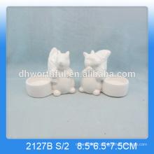 Bougies en céramique en forme d'écureuil unique en couleur blanche