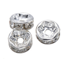 SP05 Glas Strass wellige Kante Rondelle Spacer Stecker Perle in Bulk 12mm