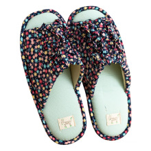 Soft cotton velour slippers in hotel with dot plastic cloth high quality customized women