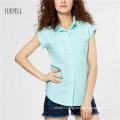 Blue Grid Cotton Summer Women Shirt