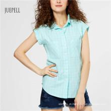 Camisa azul das mulheres do verão do algodão da grade