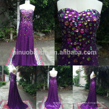 Custom Made 2014 Real Sample Purple Shiny Sequin Formal Evening Dress With Rhinestone Sweetheart Sheath Long Prom Gown NB0773