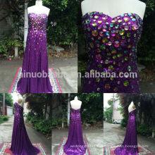 Feito por encomenda 2014 amostra de lantejoulas roxas formal vestido de noite formal com strass Sweetheart bainha longo vestido de baile NB0773