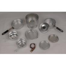 Juego de utensilios de cocina de aluminio al aire libre con estufa