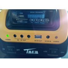 Sistema de iluminación LED solar con reproductor de radio FM Reproductor de tarjeta SD USB con control remoto