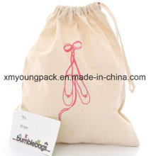 Promotional Custom Large Reusable Travel Shoe Cotton Canvas Drawstring Laundry Bag