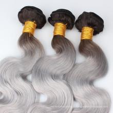 Ombre cheveux brésiliens corps vague 1b # noir foncé à gris / gris cheveux humains armure