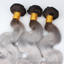 Ombre hair Brazilian hair body wave 1b # dark root black to grey/gray human hair weave