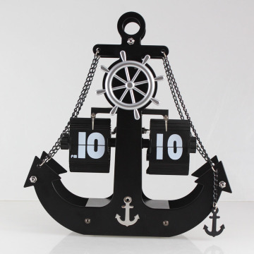 Huge Ship's Anchor Flip Metal Clock