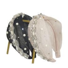 Rhinestone Pearl Wide Headband for Women Luxury Hair Accessories Designer Bow Knot Bride Baroque Hairband Wedding Girl Fashion