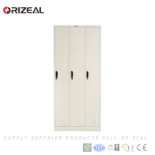 Armario de metal Orizeal 3 Door School Locker Price Steel Clothes Cabinet (OZ-OLK006)
