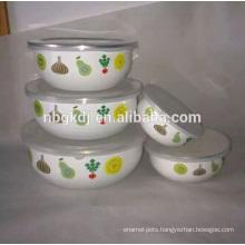 elegant fruit decal enamel ice bowl with PE lid