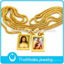 Diseño simple con dos medallas religiosas epóxicas mayorista de acero inoxidable Jesús y Virgen María collar de cadena