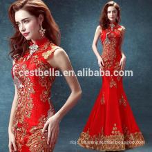 2016 rojo vestido de noche Mermaid Stand Collar mujeres rojas Maxi vestidos de noche de moda larga Vestidos