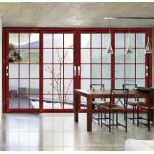 Wanjia 130 series showroom puerta corredera con doble vidrio templado