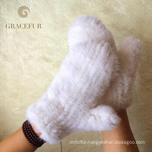 Hand knit Real Mink Fur Finger glove Winter warm gloves
