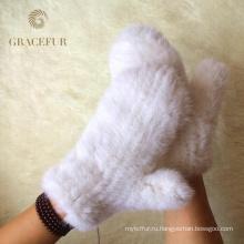 Ручной вязать реального норки мех палец перчатки зимние теплые перчатки