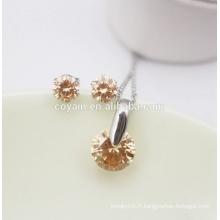 Fashion Earring Necklace Femme CZ Ensemble de bijoux en pierre de cristal