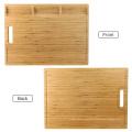 Grande placa de corte de bambu orgânico para a cozinha, com 3 compartimentos internos e sulcos do suco, placa de desbastamento resistente