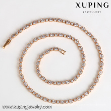 43320 Xuping simples longa falso fabricante de ouro cheias de jóias colar de corrente China Synthetic pedra preciosa CZ