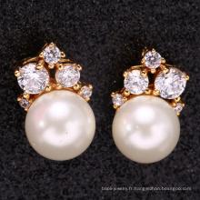 accessoires de mariée femmes oreille 18 k or perle boucle d'oreille pour le cadeau de fête des mères