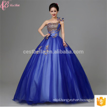 2017 New design elegent beaded One-Shoulder Peacock Feather mesh ball gown wedding dress