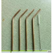 Ss304 Golden Straws Plaqué or en acier inoxydable Pailles