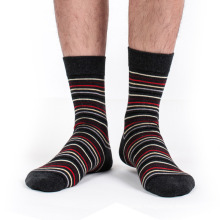 Men′s Cotton Crew Business Socks with Stripes (MA035)