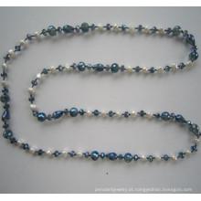 Tempo de água doce pérola & colar de cristal, moda joias