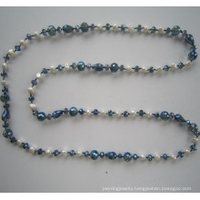 Long Freshwater Pearl&Crystal Necklace, Fashion Jewelry