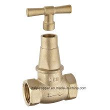 Válvula de parada forjada de cobre amarillo de la calidad del OEM con la manija de cobre amarillo (AV4014)