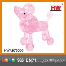 Heißer Verkaufs-Plastikkristallhund-Tierkubik-Spaß-Puzzlespiel-Spielzeug des Spiels 3d
